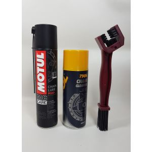 Zestaw do czyszczenia łańcucha Motul C2 / Mannol 7904 / szczotka Leoshi
